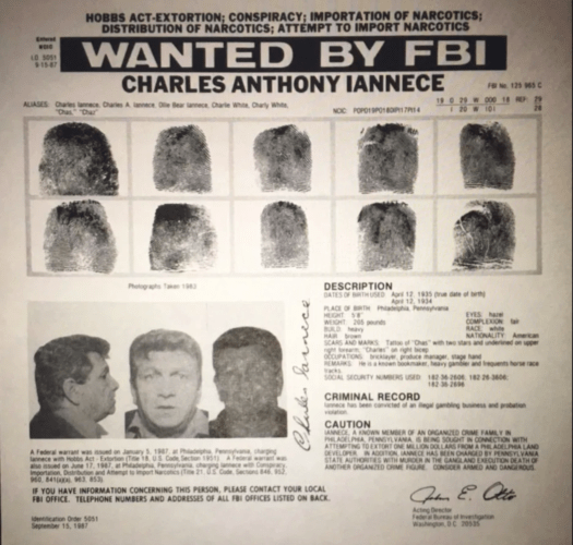 "An FBI wanted poster for Charles ""Charlie White"" Iannece."
