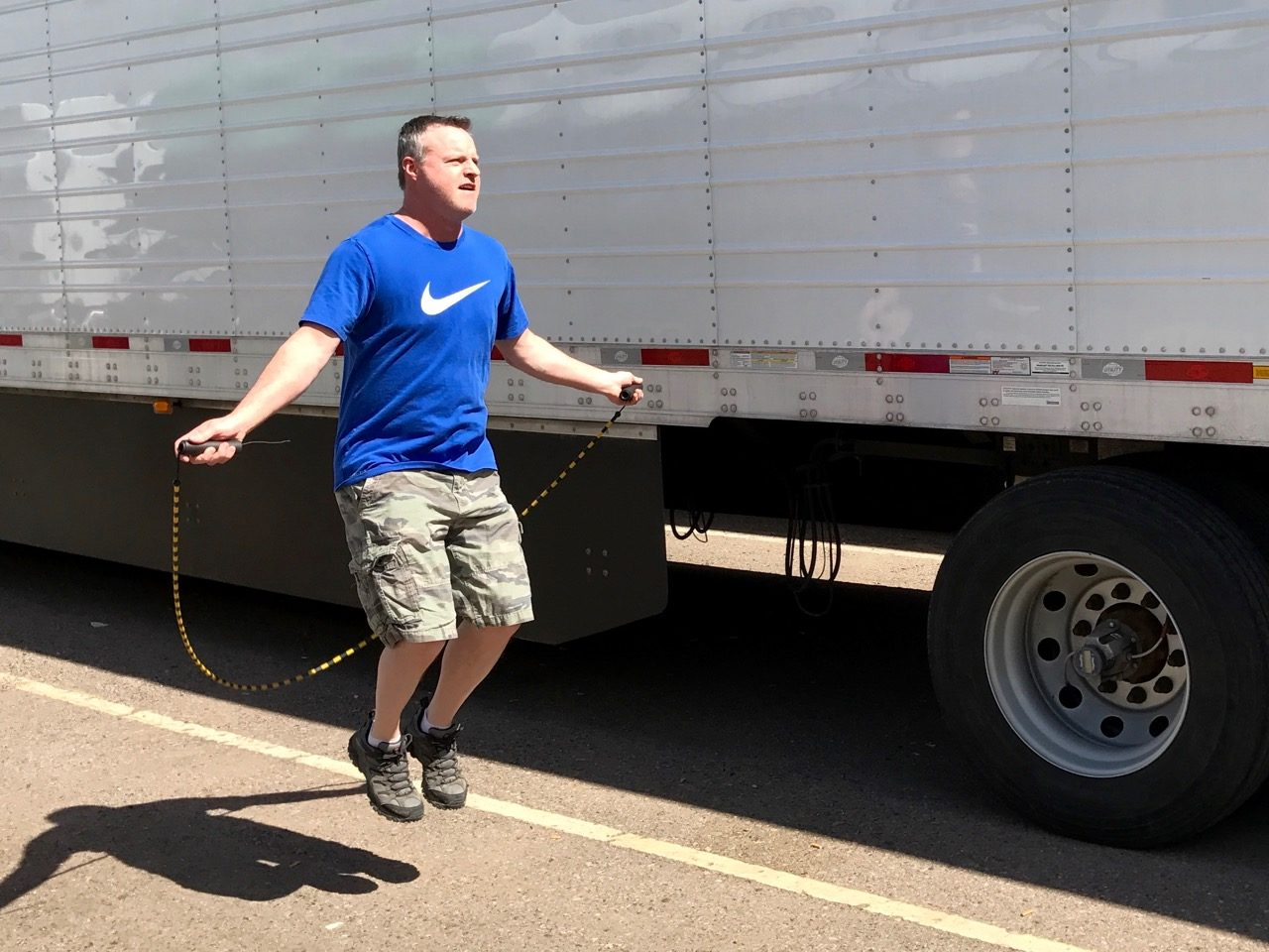 Trucker jumping rope