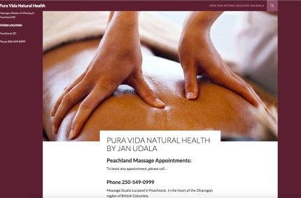 PeachlandBCmassage.com :: Healthy Massage Website