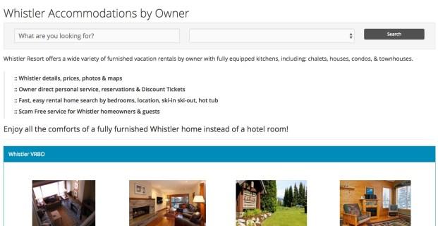 WhistlerbyOwner.com :: Vacation Rental by Owner (VRBO) Website