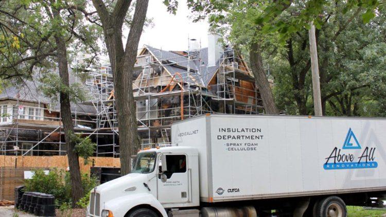Above All Insulation truck in Winnipeg