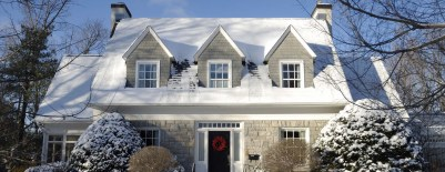 Single detached stylish house on a sunny winter day
