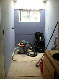 Bathroom with blue board installed