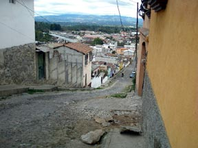 A steep and narrow cobbled street in Chichicastenango