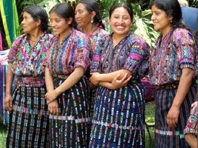 Mayan women in traditional dress