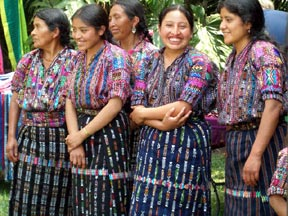 Mayan women in traditional dress