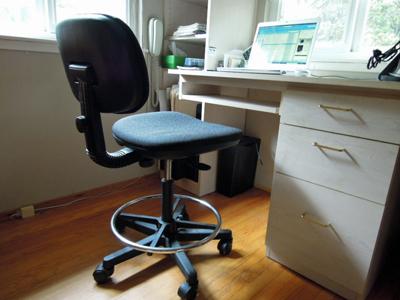 Desk configuration with laptop