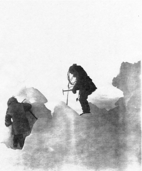Antarctic explorers on an ice ridge