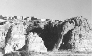 A view of the Acoma pueblo perched on a mesa in the Arizona desert