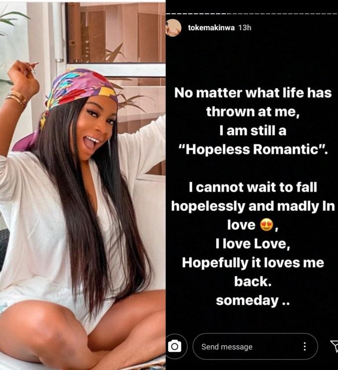 Toke Makinwa says she's a 'hopeless romantic' and can't wait to fall in love again