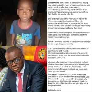 """Lagos Governor, Jide Sanwo-Olu To Meet Little Boy Who Asked His Mom To """"Calm Down"""" In Viral Video"""