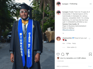 """It Took Me 10years And 4 Universities To Become A Graduate"" – Davido's Cousin, Tunji"