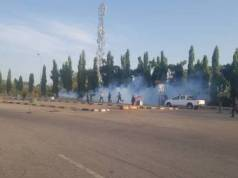 Police Teargas, Arrest #ENDSARS Protesters At National Assembly Complex In Abuja
