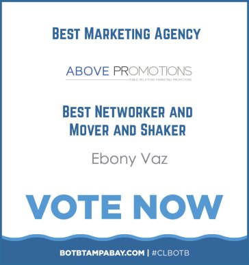 Vote for Above Promotions Best Marketing Agency Networker Mover and Shaker text