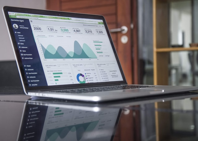 Laptop view with analytics of marketing campaign