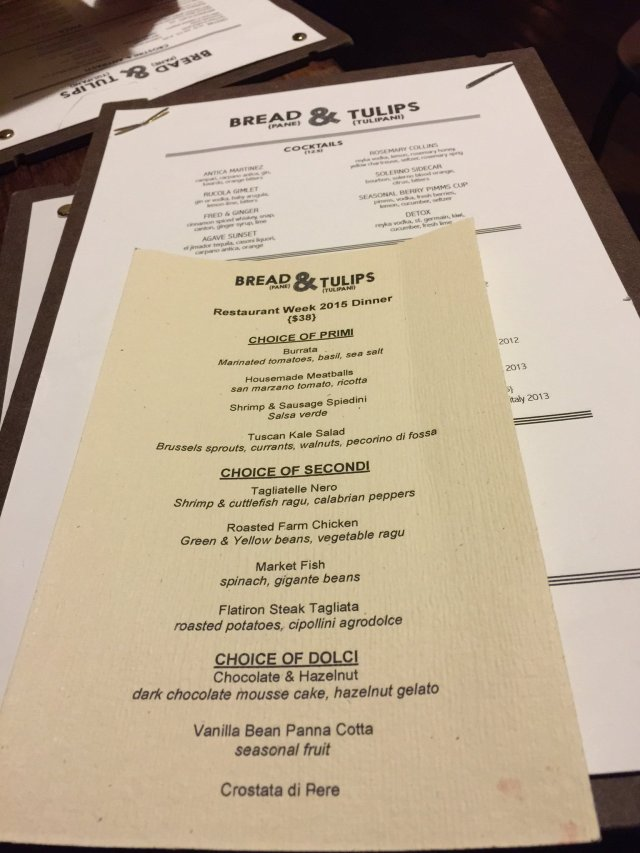 Bread & Tulips Restaurant Week Menu