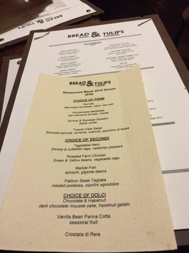 Bread & Tulips Restaurant Week Menu