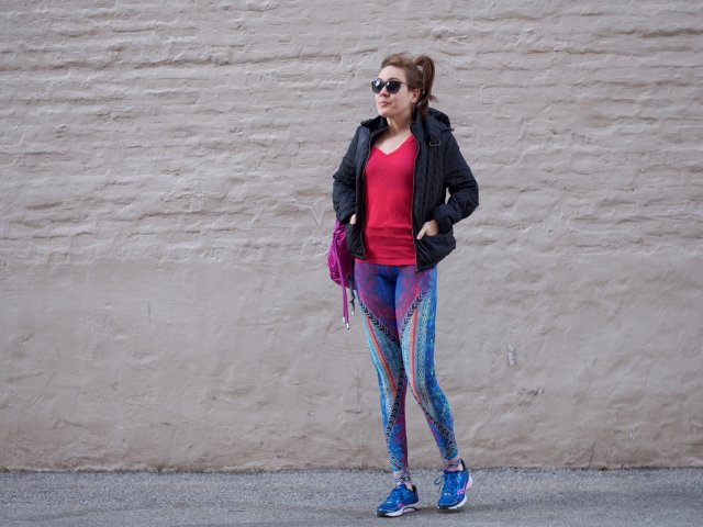 Onezie leggings with leather jacket and lululemon bag