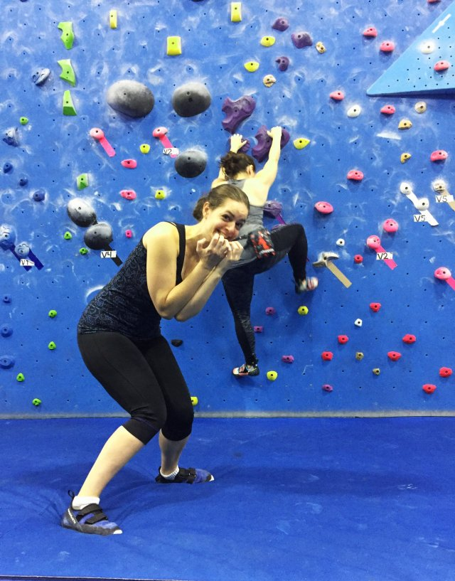 Kim climbs as Nerissa watches... nervously