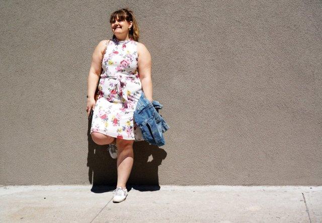 Flower-dress-leg-against-wall