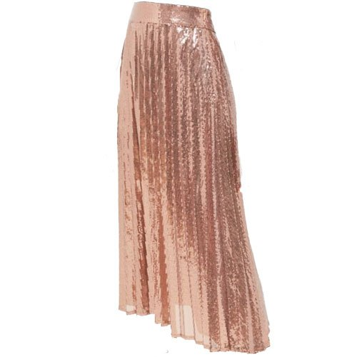 Sequin pleated asymmetrical skirt