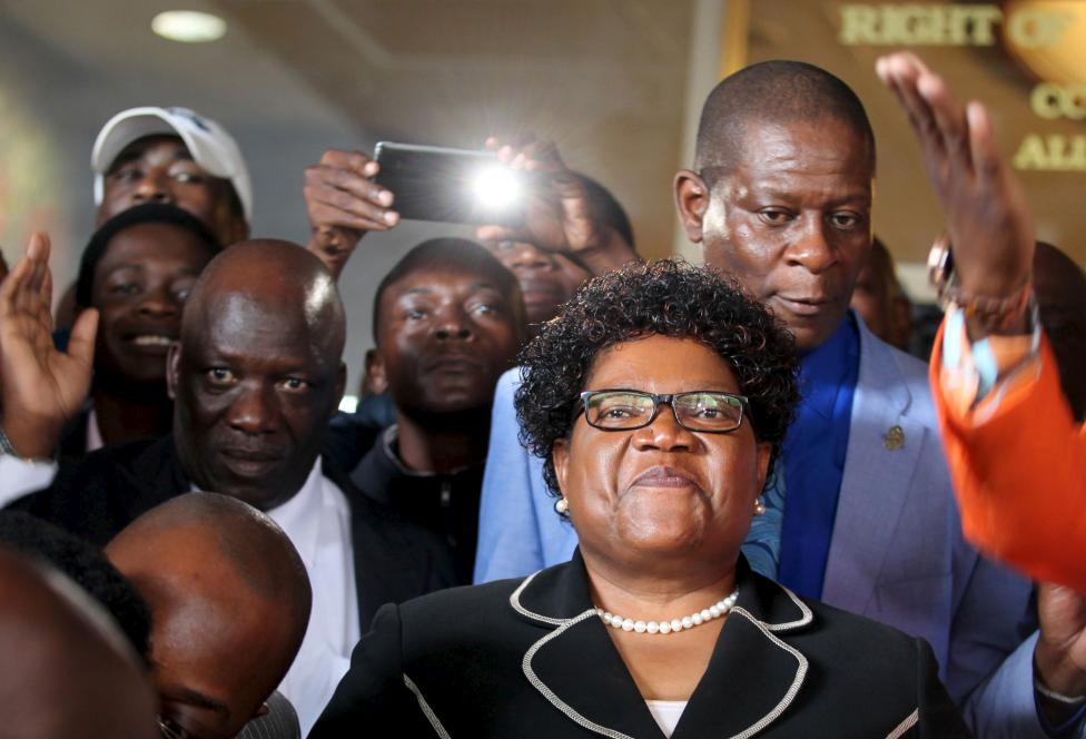 Zimbabwe's former vice president Joice Mujuru smiles while addressing supporters in Harare, March 1, 2016. REUTERS/Philimon Bulawayo