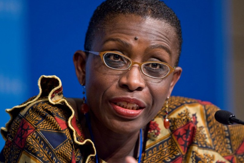 "IMF Africa director Antoinette Sayeh said Mozambique's initial failure to disclose borrowing of more than one billion U.S. dollars ""significantly changes our assessment of Mozambique's macroeconomic outlook."" She is seen at the Spring 2016 meetings of the IMF in Washington, DC."
