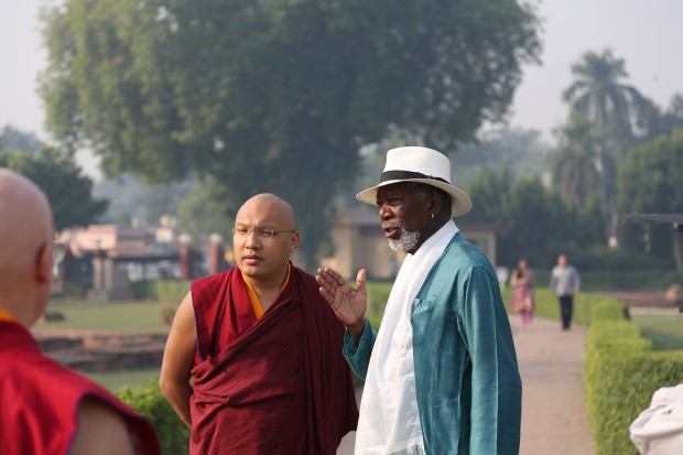 BODH GAYA, INDIA – Morgan Freeman speaking with His Holiness the 17th Gyalwang Karmapa at Bodh Gaya.
