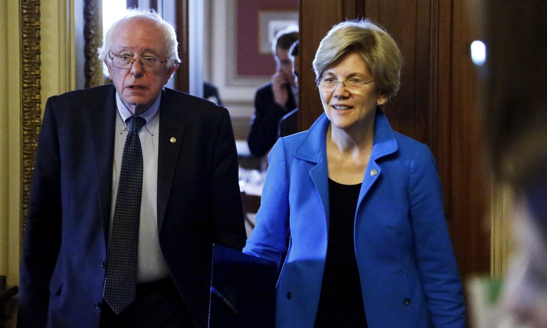 Bernie Sanders and Elizabeth Warren in Washington. Warren has so far declined to endorse either Sanders or Clinton. Photograph: Jonathan Ernst/Reuters