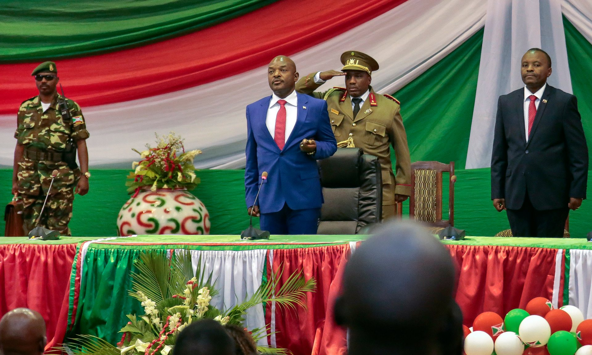 President Nkurunziza is sworn in for a third term at a ceremony in Bujumbura. Photograph: Gildas Ngingo/AP
