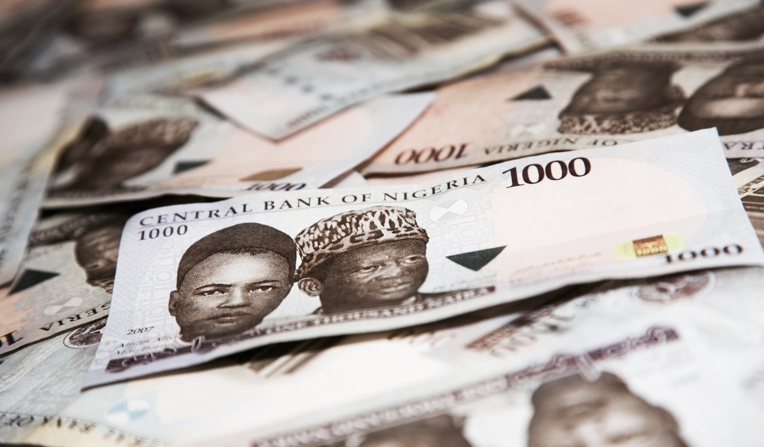 1000 naira bills (Nigerian currency), at f/6.3 and a 105mm focal length, depth-of-field is limited. (Photo by: MyLoupe/Universal Images Goup via Getty Images)