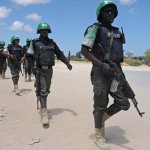 Officers from Amisom, the AU's mission in Somalia, patrol the capital, Mogadishu, in April 2015. Photograph: Mohamed Abdiwahab/AFP/Getty Images