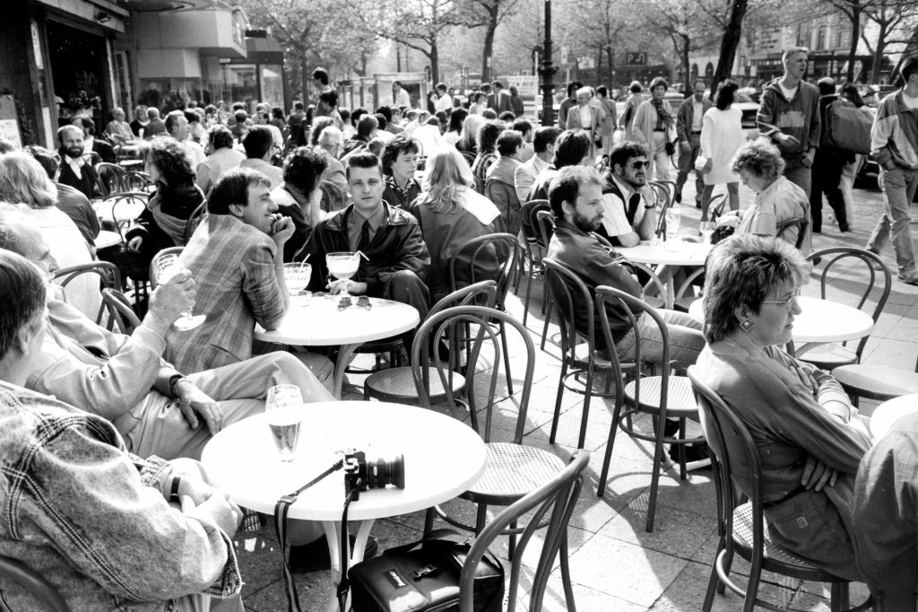 Cafe life in 1980s West Berlin. Photograph: Don McPhee for the Guardian