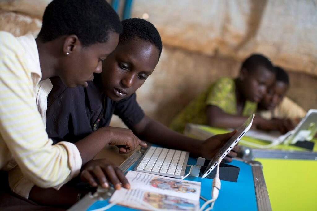 The IdeasBox programme provides stable internet access in the Bwagiriza refugee camp. Photograph: International Rescue Committee/ Bibliothèques Sans Frontières