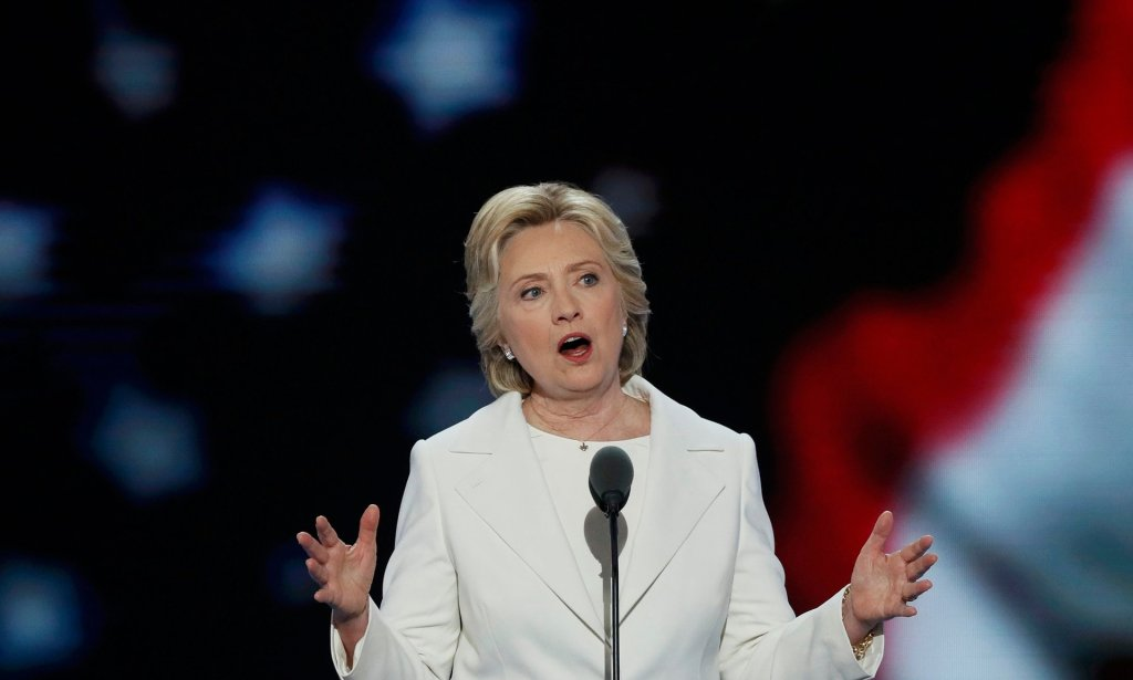 Hillary Clinton at the Democratic National Convention in Philadelphia. 'Having won her party's nomination, she now fights for the nation's trust.' Photograph: Mike Segar/Reuters