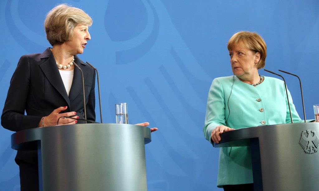 May and Merkel give a joint press conference in Berlin. Photograph: Adam Berry/Getty Images