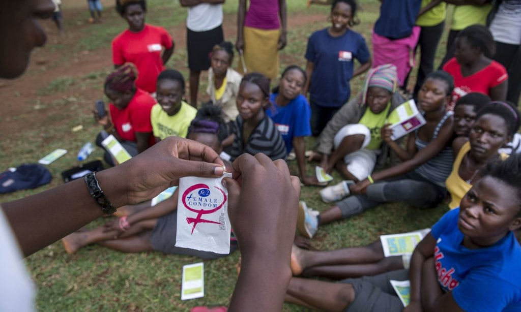 In Busia, Uganda, young women attend an education session on family planning. Government commitments to the 2020 contraception targets are still dependent on donor funding. Photograph: Jonathan Torgovnik/Getty