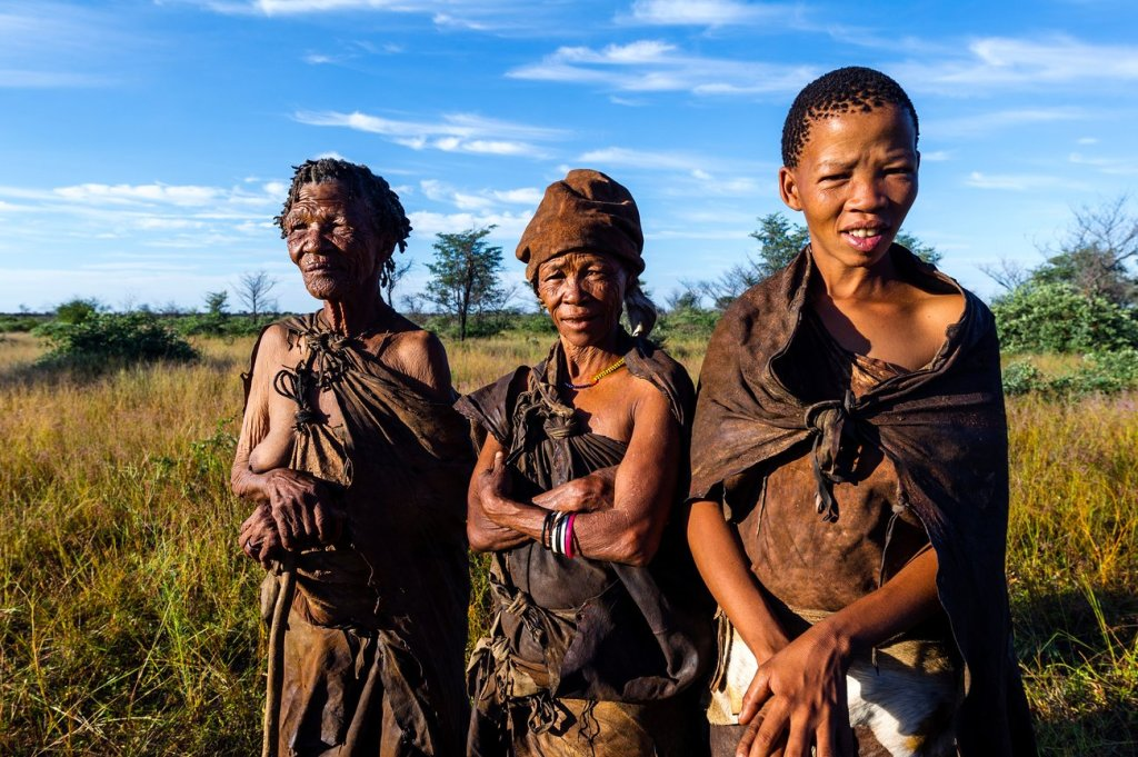 Three generations of women in a San Bushmen family. Photograph: Jason Edwards/National Geographic/Getty Images