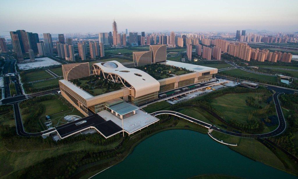The Hangzhou Olympic and International Expo Center in the Binjiang District of Hangzhou, capital of east China's Zhejiang Province. Photograph: Xinhua / Barcroft Images