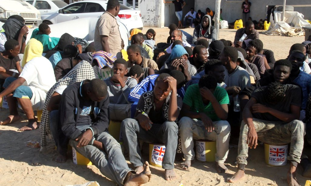 Migrants in Tagiura, east of the Libyan capital Tripoli. The UK's work in Libya includes support for economic and human rights initiatives. Photograph: AFP/Getty Images