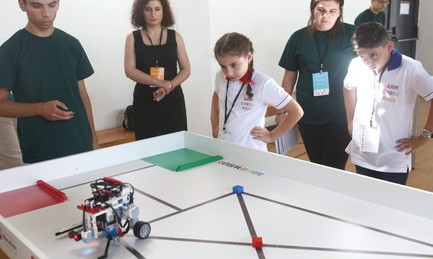 Armenian schoolchildren compete at the national stage of World Robot Olympiad. Photograph: PanARMENIAN Photo Agency