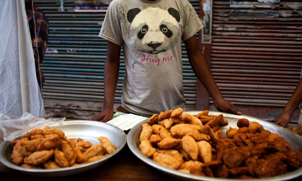 A temporary food stall is seen in a street in Old Dhaka, Bangladesh. Photograph: K M Asad/LightRocket via Getty Images