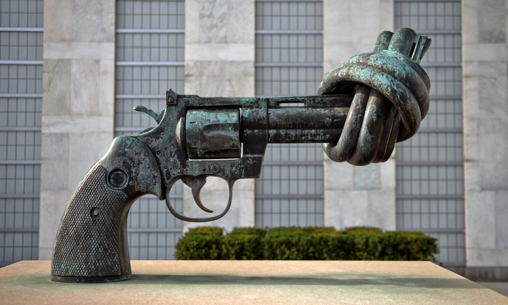 Non-Violence, a sculpture by Swedish artist Carl Fredrik Reuterswärd, is seen outside UN headquarters in New York. Photograph: Michael Gottschalk/Getty Images