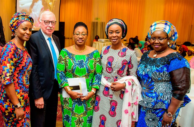 L-R: Founder, SHE Forum Africa, Inimfon Etuk; Danish Ambassador to Nigeria, Torben Gettermann; Keynote Speaker and founder AboveWhispers.com, Mrs Bisi Adeleye-Fayemi; founder, Wellbeing Foundation Africa, Mrs Toyin Saraki; with Acting MD, Niger Delta Development Commission (NDDC) Mrs Ibim Semenitari; at the SHE Forum Africa 2016 in Abuja