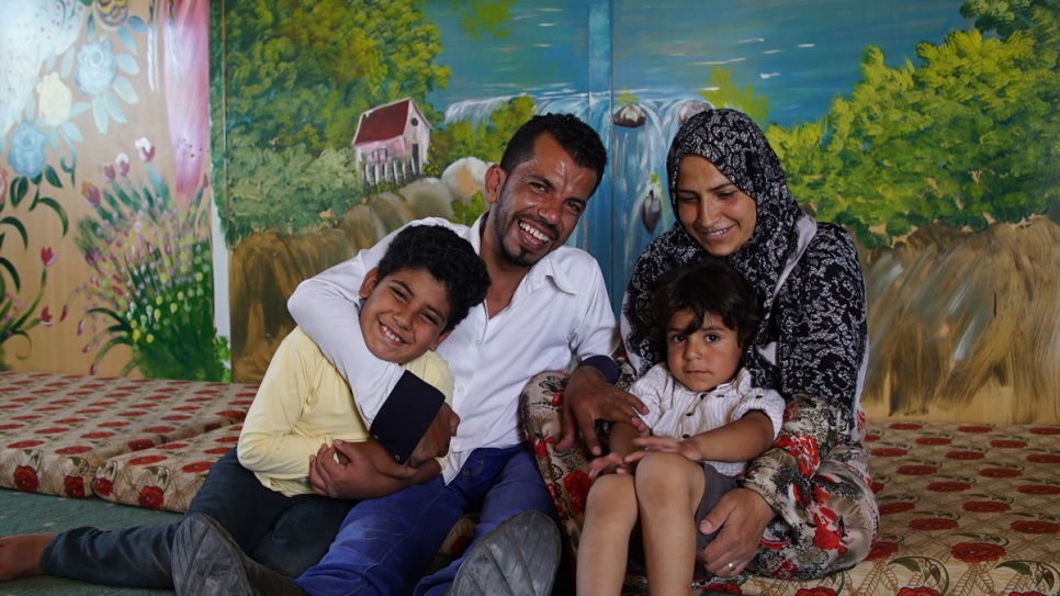 Actor and director Ahmed with his wife Nisreen and their sons, Hamza and Khaled. © UNHCR/Houssam Hariri