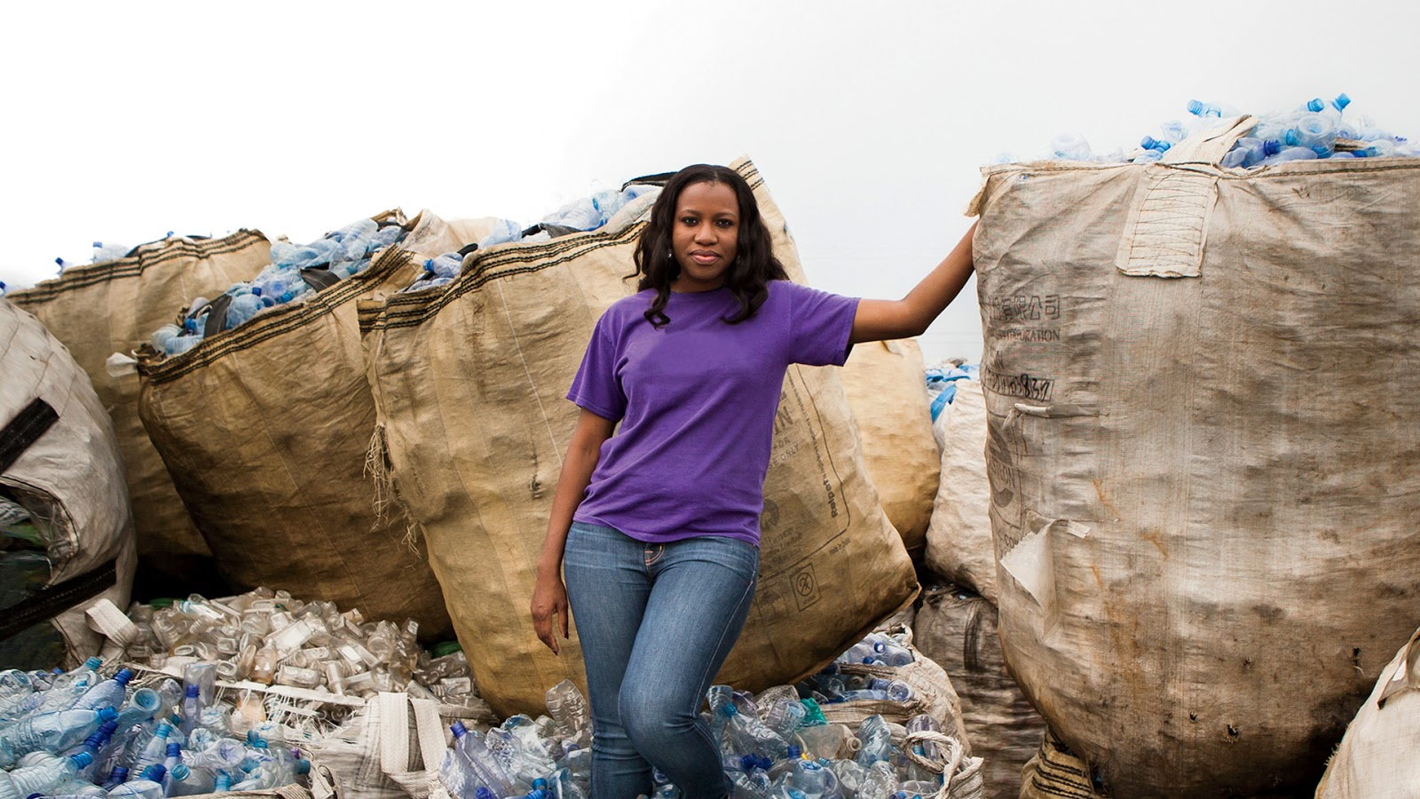 In the bag: Wecyclers founder Bilikiss Adebiyi-Abiola came up with the idea for the recycling start-up while studying for an MBA at the Massachusetts Institute of Technology. Picture: SUPPLIED