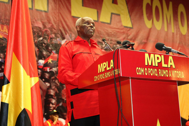 MPLA President, José Eduardo dos Santos, addresses the opening act of the MPLA 7th ordinary congress