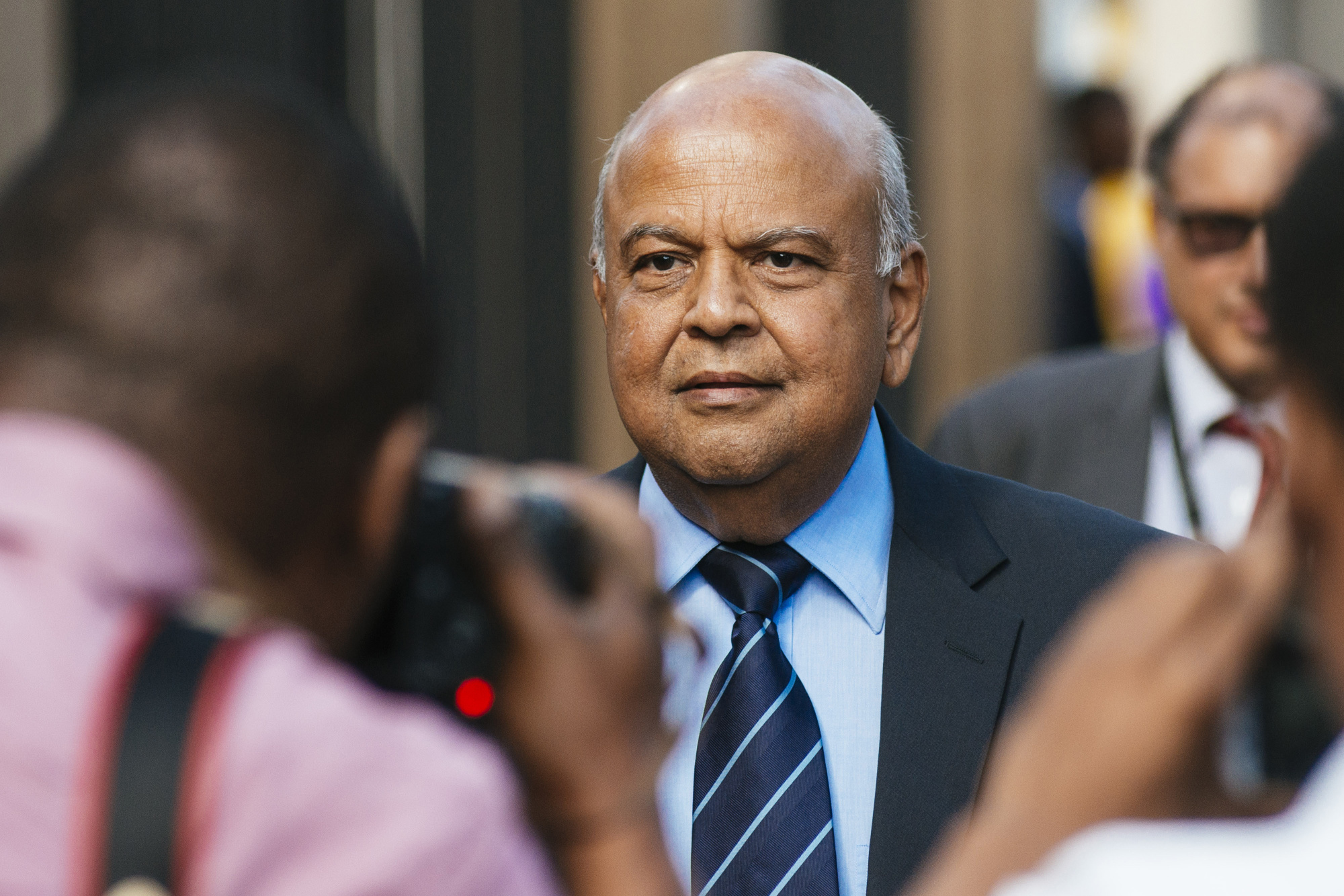 Pravin Gordhan in Pretoria, March 28. Photographer: Waldo Swiegers/Bloomberg