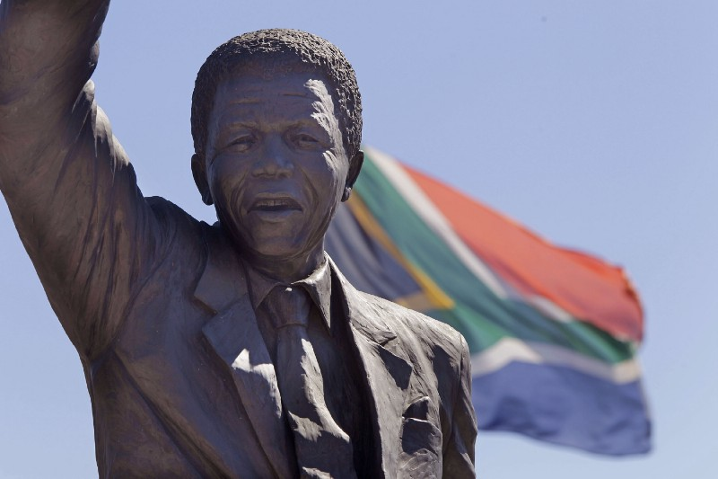 A statue of Nelson Mandela at the Drakenstein Correctional Center in South Africa, where he spent his last years in prison.