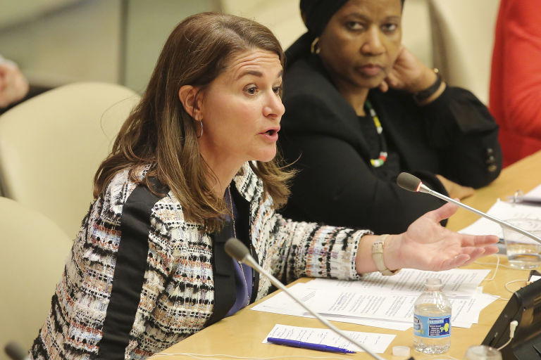 Melinda participating in the Making Every Woman and Girl Count program at the United Nations last September. Photo: Getty